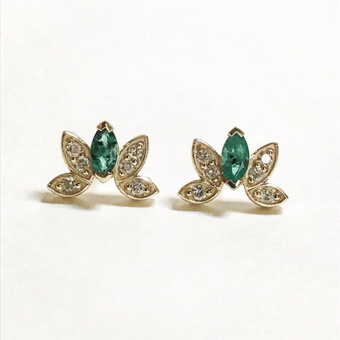 Emerald Marquise and Diamond Stud Earrings Bexon Jewelry By Christina Atkinson