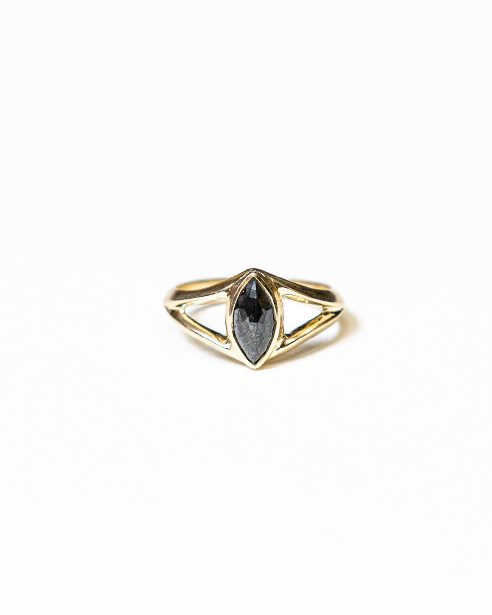Black rose cut marquise diamond and gold ring by Bexon Jewelry