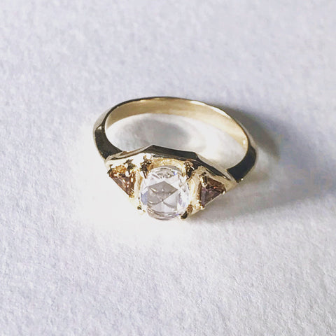 Rose Cut Diamond and Champagne Trillions in 14k Yellow Gold Ring Bexon Jewelry by Christina Atkinson