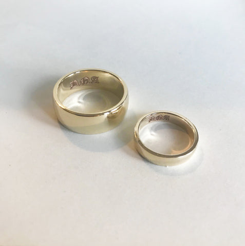 Gold His and Hers Wedding Bands 14k with Custom Engraving Bexon Jewelry By Christina Atkinson