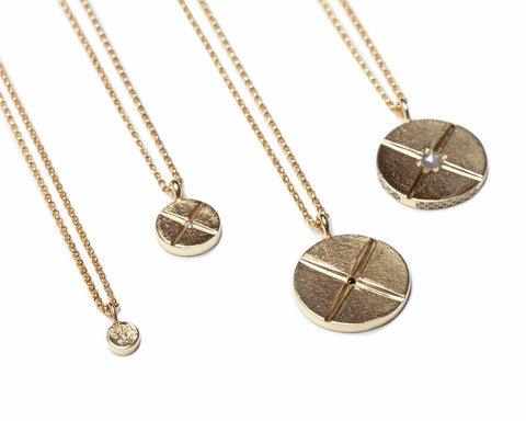 bexon jewelry pendant medallion necklaces 14k recycled gold pavé diamonds ethical conflict free minimalist wardrobe capsule collection