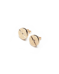 Bexon Fine Jewelry Maya Post earrings, 10 mm. button style posts in 14k recycled yellow gold with black or grey conflict free diamonds