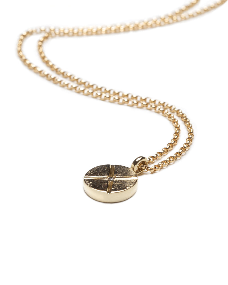 Bexon Fine Jewelry Maya Necklace 10 mm. pendant in  14k recycled yellow gold with black or grey conflict free diamond