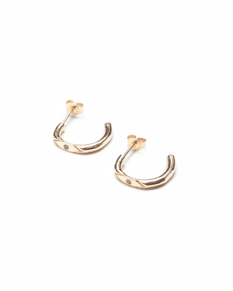 Bexon Fine Jewelry Noa hoop earrings in 14k recycled yellow gold and black or grey conflict free diamonds