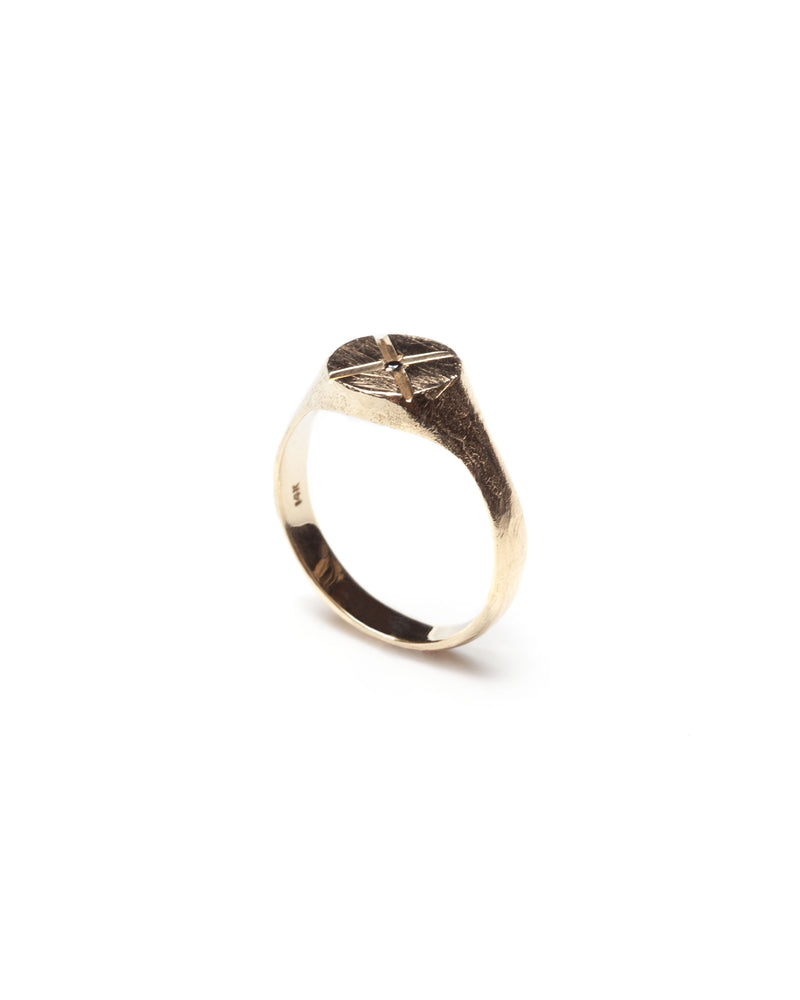 Bexon Fine Jewelry Opus round signet ring in 14k recycled gold and flush set grey or black conflict-free diamond