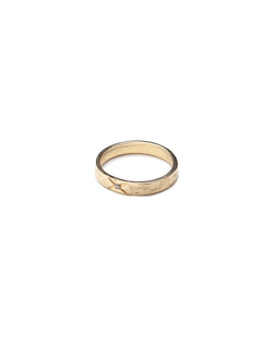 Bexon Fine Jewelry Regina cigar band ring in 14k recycled gold and flush set grey or black conflict-free diamond