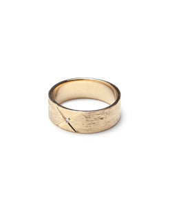Bexon Fine Jewelry Regni wide cigar band ring in 14k recycled gold and flush set grey or black conflict-free diamond