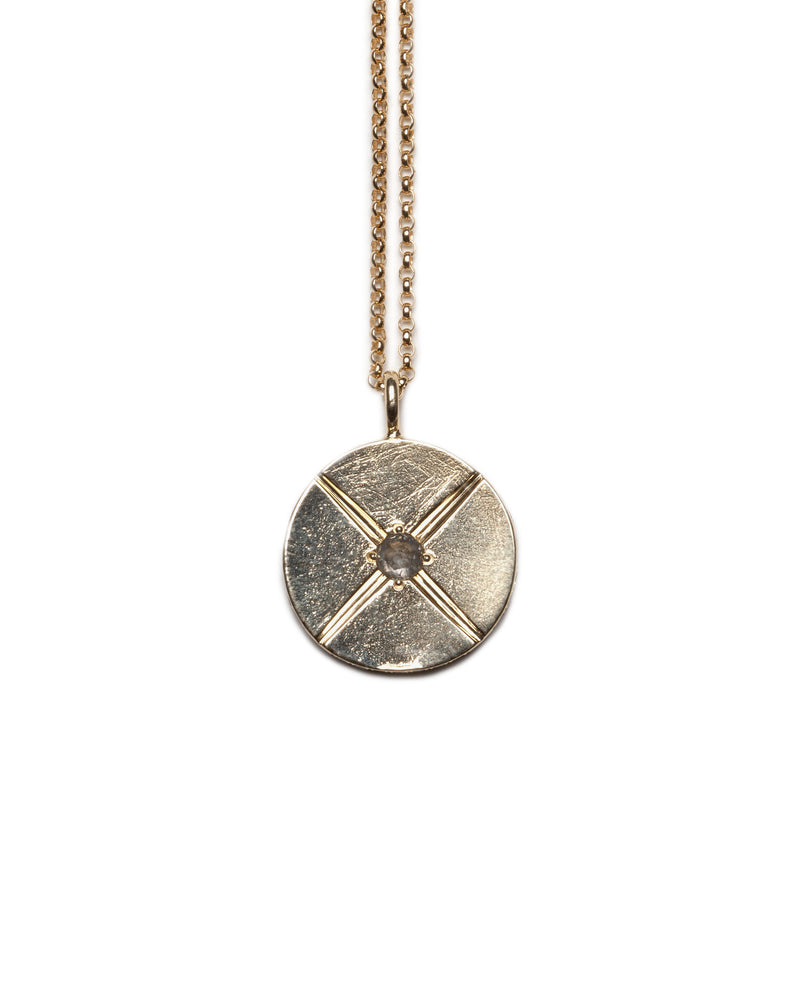 "Bexon Fine Jewelry Sole Medallion pendant necklace, 20 mm. diameter on 20"" rolo chain, 14k recycled yellow gold and conflict free grey pavé set diamonds and a center set 3 mm. grey rose cut diamond"