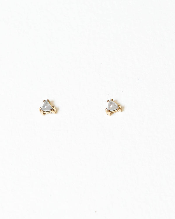 Bexon Jewelry White Trillant Diamond Stud Earrings 14k Yellow Gold