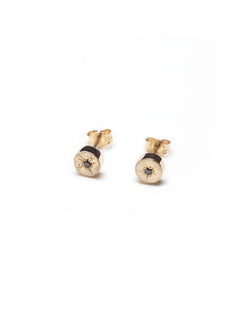 Bexon Fine Jewelry Stella post earrings  in 14k Recycled Yellow Gold and Conflict Free Black or Grey Diamonds