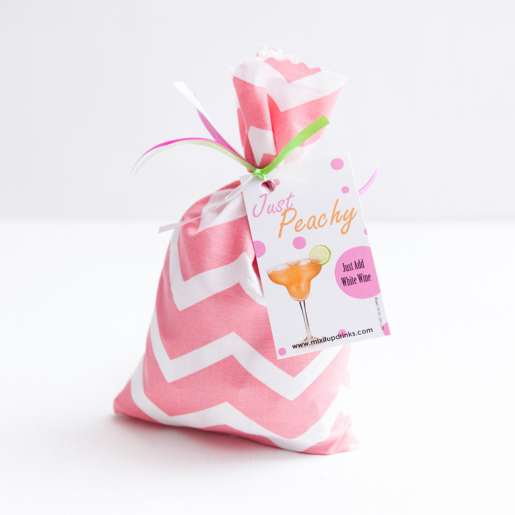Just Peachy - Slushy Wine Mix in Pink Chevron Bag