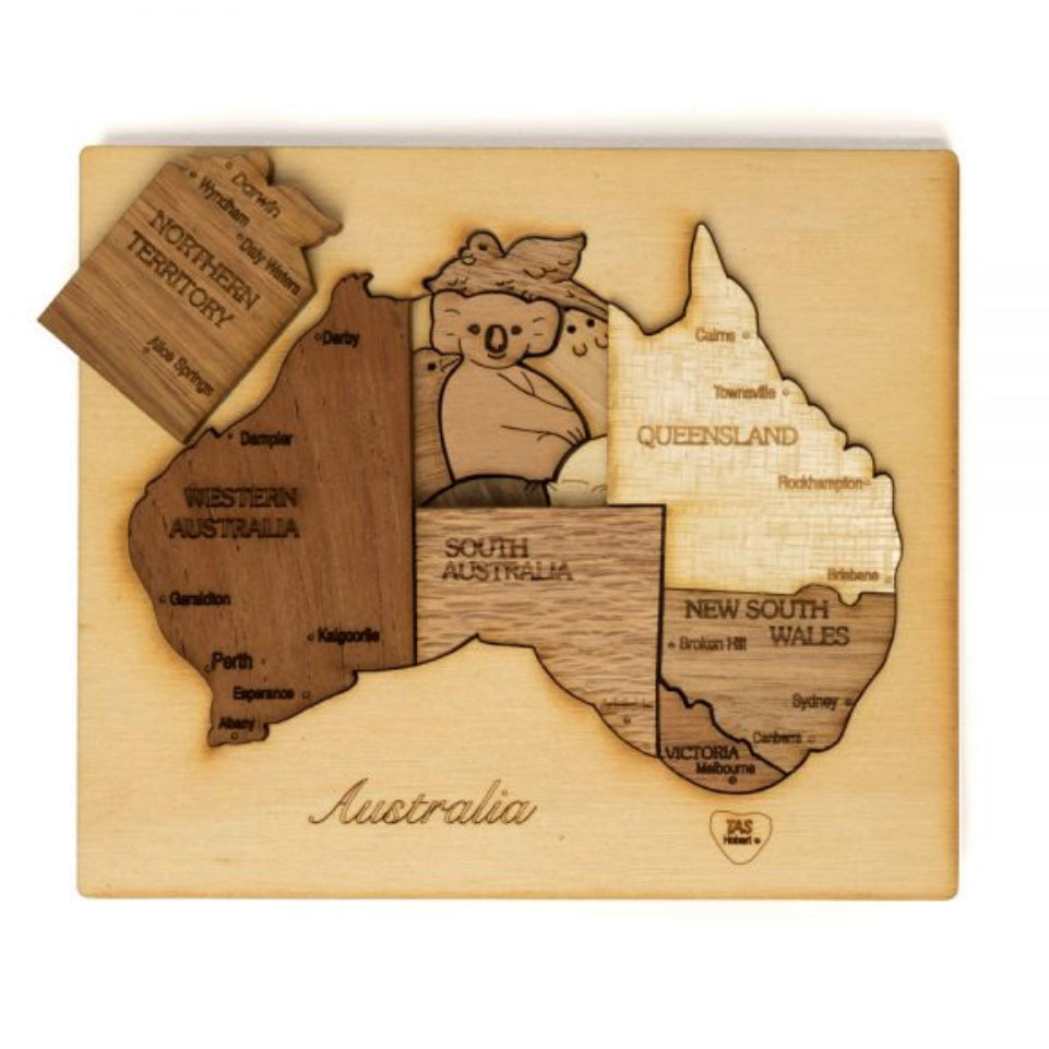 Double Layer Australia Puzzle in Mixed Wood