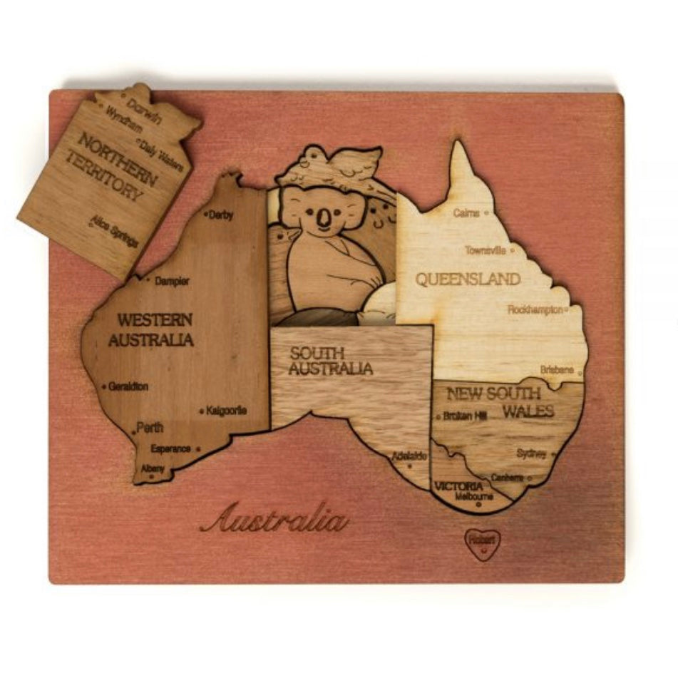 Double Layer Australia Puzzle in Cedar