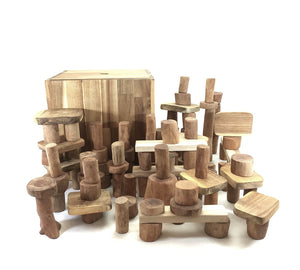 106 Piece Wooden Block Set with Box and Mat