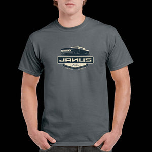 "Mens Charcoal T-Shirt with Janus ""Drive"" Artwork"