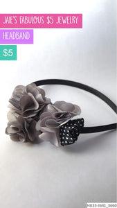 Silver and black headband