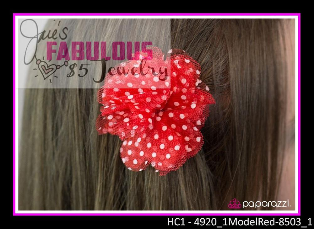 Red polka dot hair clip