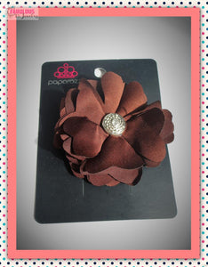 Brown flower hair clip/pin