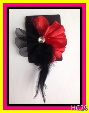 Red and black feather hair clip/pin