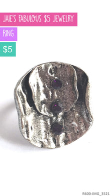 purple and silver adjustable ring
