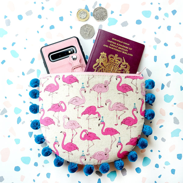 Flamingo Party Pom Pom Purse