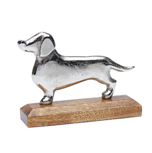 Silver Metal Dachshund On Wooden Base