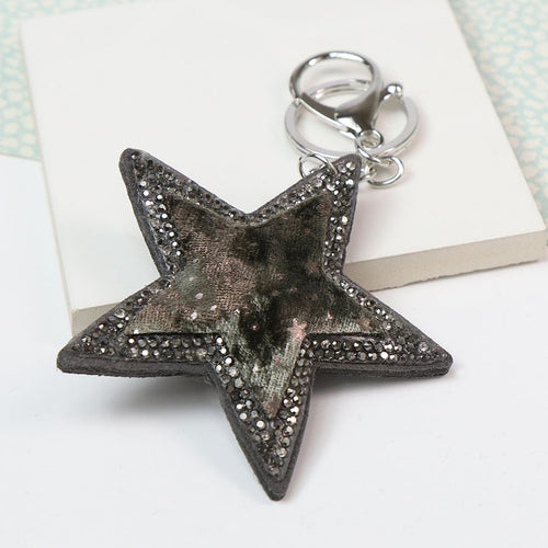 Star Print Star Shaped Keyring