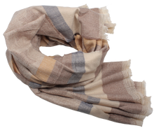 Load image into Gallery viewer, Soften Woven Stars & Stripes Ladies Scarf Beige