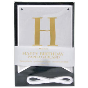 Grey & Gold Happy Birthday Garland