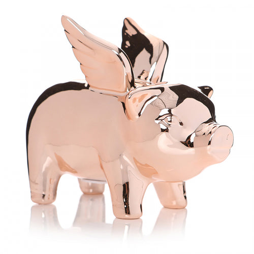 Rose Gold Flying Pig Money Bank