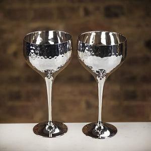 Culinary Concepts Pair of Silver Plated Hammered Wine Goblets