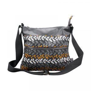 Fallen Leaves Ladies Messenger Bag In Grey & Ochre