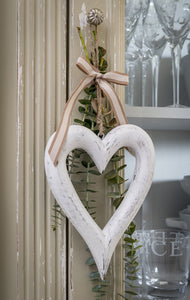 White Wooden Chubby Hanging Heart