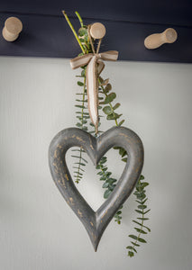 Grey Wooden Chubby hanging Heart