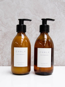 250ml Amber Glass Hand & Body Wash in Black Pomegranate