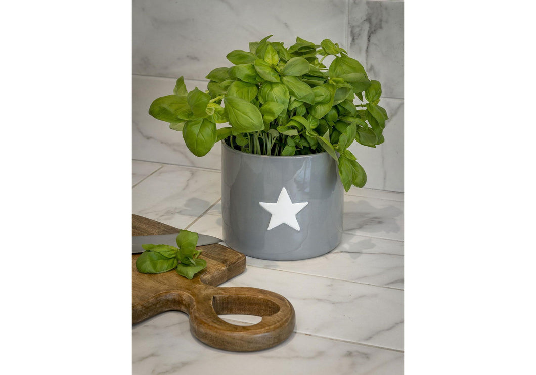 Large Ceramic Hand Crafted Star Pot Grey