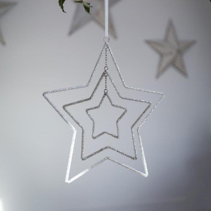 Three Layer Beaded Star Decoration