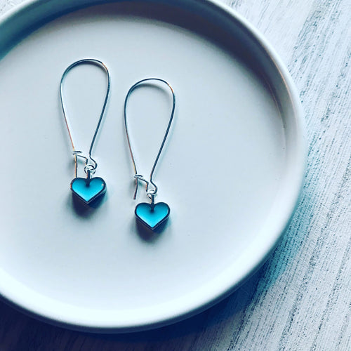 Maggie Turquoise Resin Heart Earrings