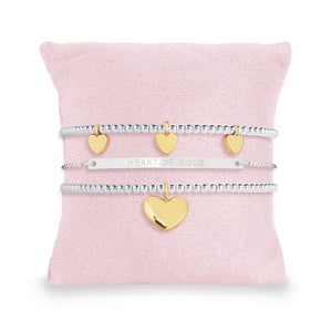 Joma Occasion Box Heart Of Gold Silver Stack Bracelet