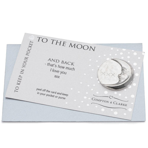 To The Moon Pewter Pocket Charm