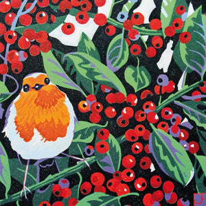 Robin & Berries Greetings Card By Jenny Hancock