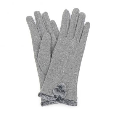 Angora Style Gloves With Faux Fur Trim In Grey
