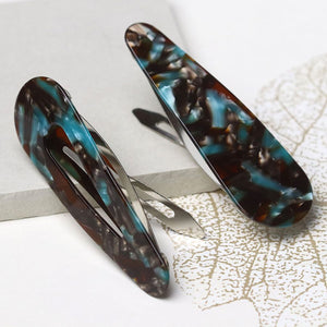 Turquoise Mix Double Hair Clip Set