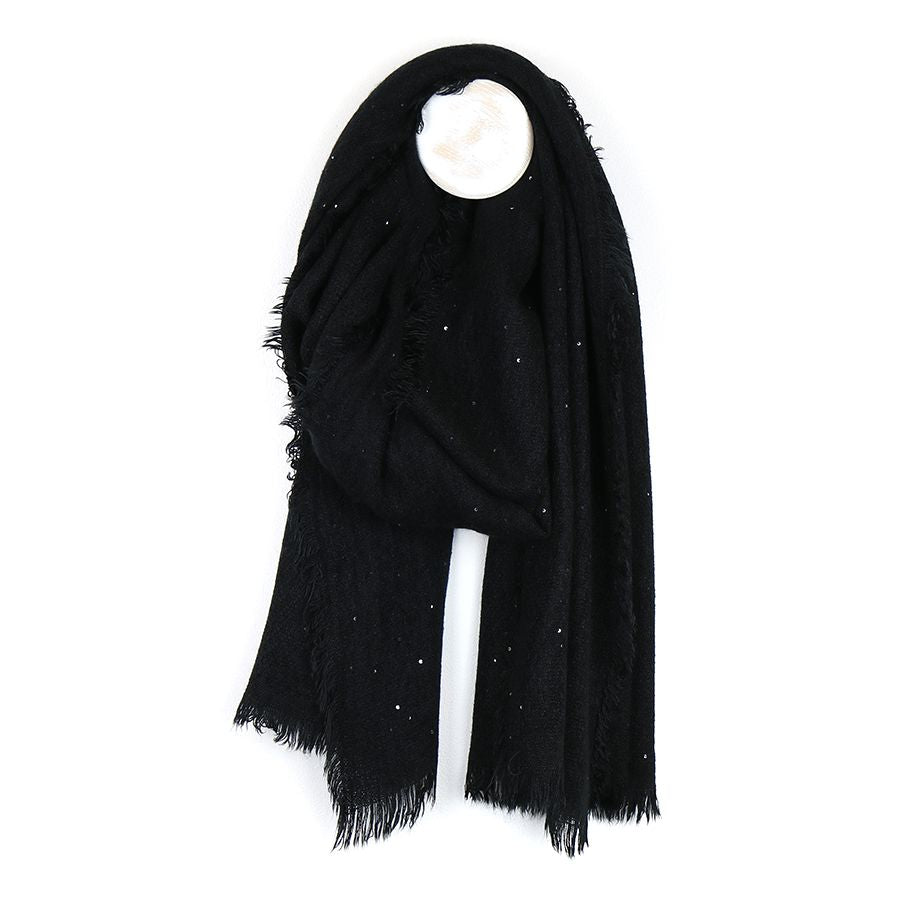 Black Loose Weave Fringed Scarf With Sequins