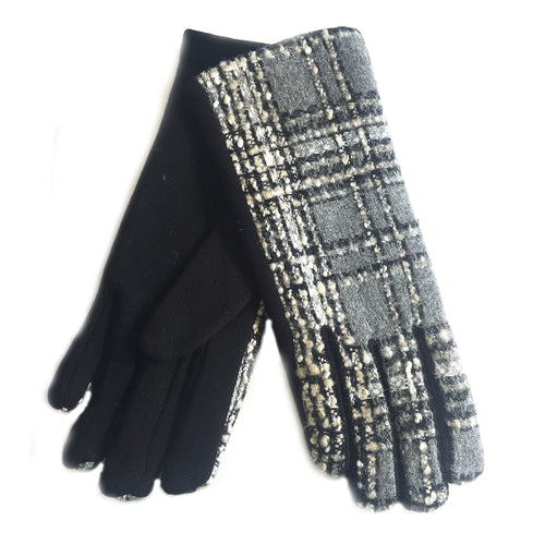 Mono Embroidered Check & Stripe Gloves