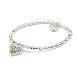 Silver Beaded Bracelet With Crystal Heart Charm