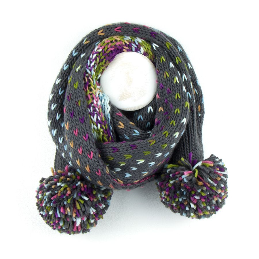 Knitted Scarf With Rainbow Chevrons