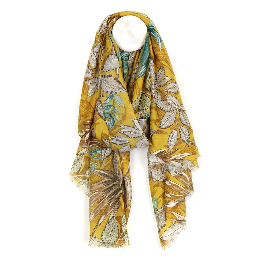 Floral Print Mustard Scarf