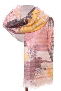 Soft Pink & Yellow Abstract Scarf