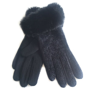 Textured Gloves With Faux Fur Trim Black